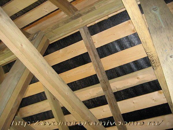 Крыша изнутри - столб, конёк, стропила