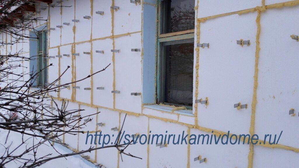 Стена утеплена пенопластом