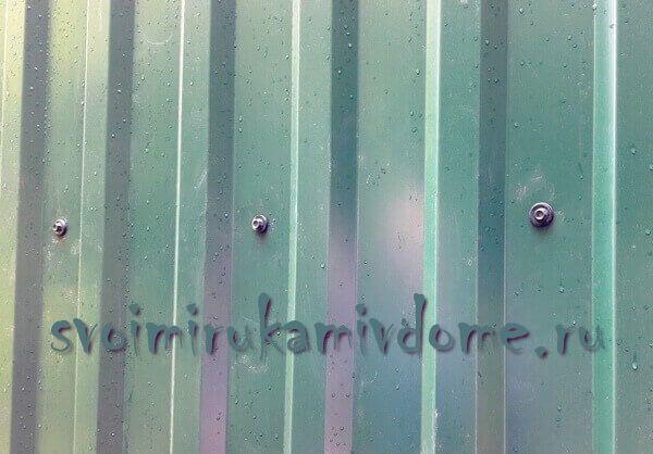 Саморезы в заборе у дома