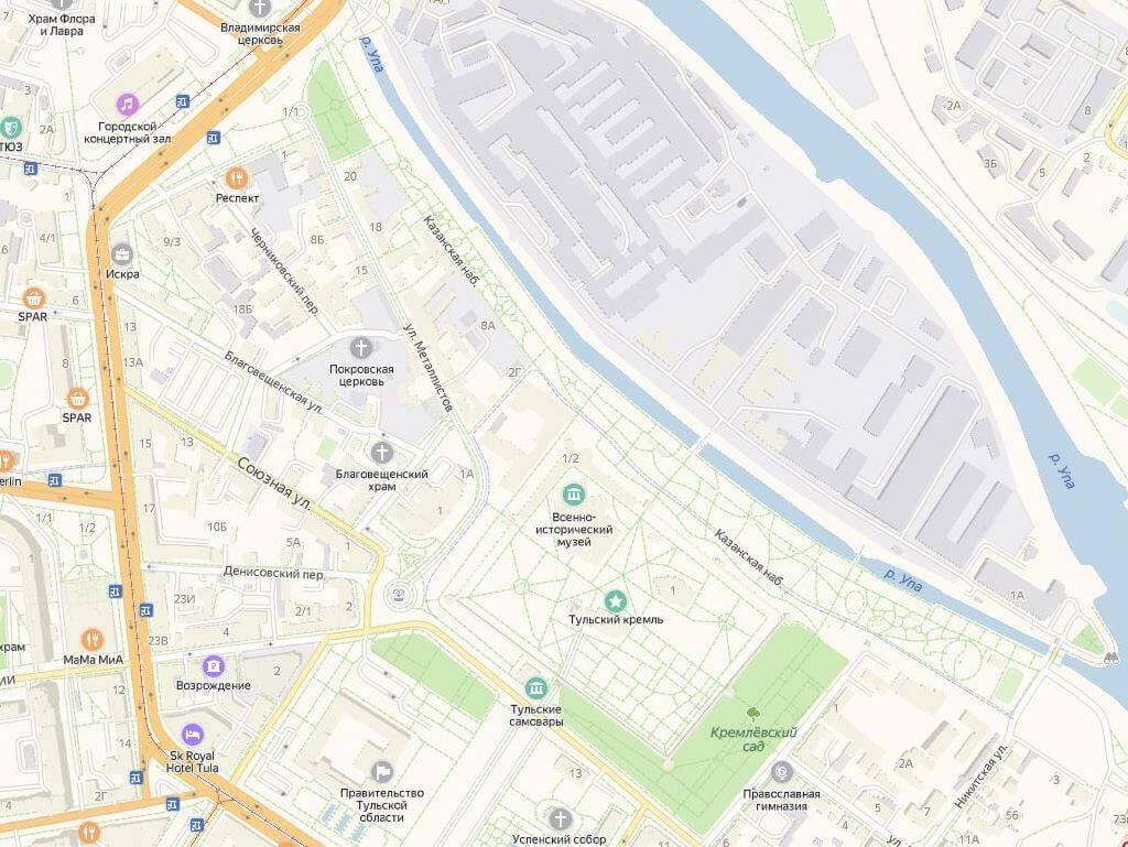 Тульский кремль и Казанская набережная, карта