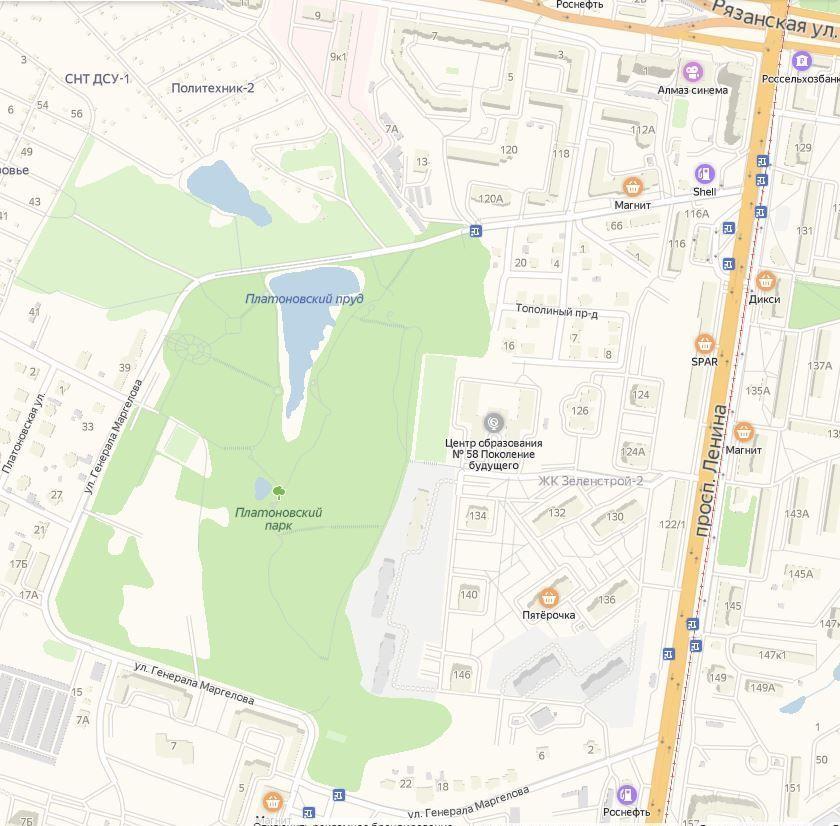 Платоновский парк, Тула - карта