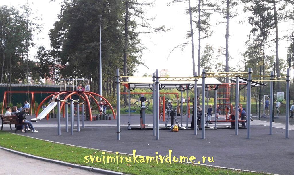 Спортивные площадки и тренажёры в парке