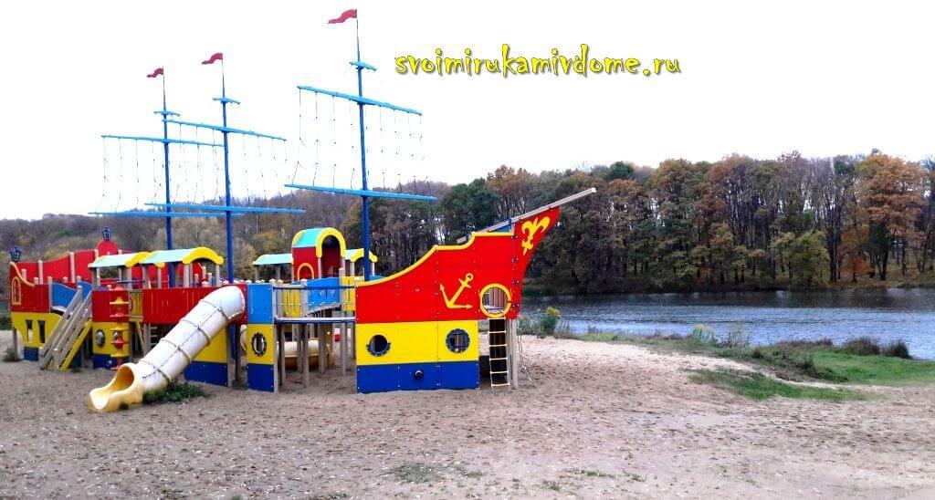 Горки на пляже в Белоусовском парке Тулы