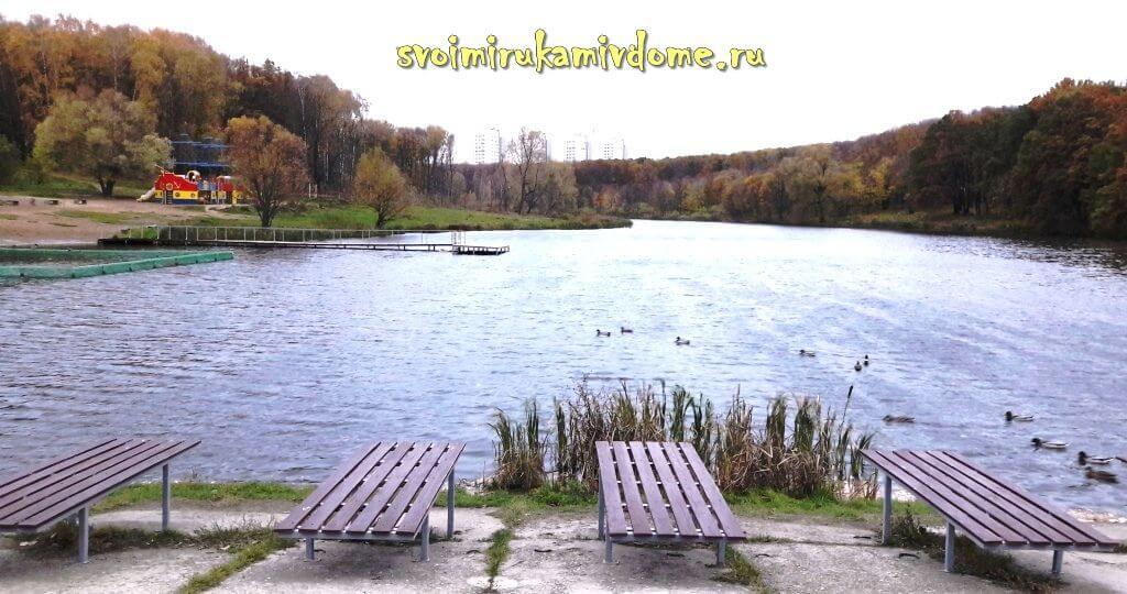 Пляж на пруду в Белоусовском парке Тулы