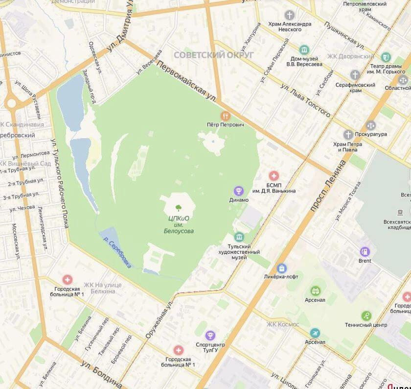 Центральный парк на карте, Тула
