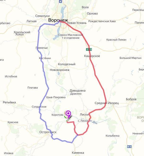 Дивногорье Воронежская область на карте