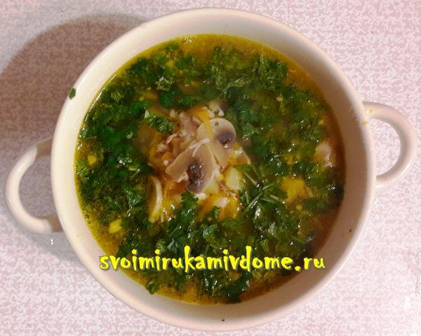 Суп с картофелем, шампиньонами