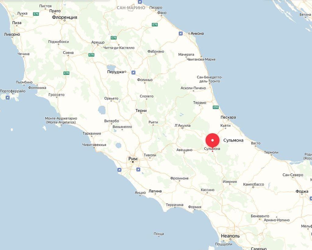 Сульмона на карте, Италия