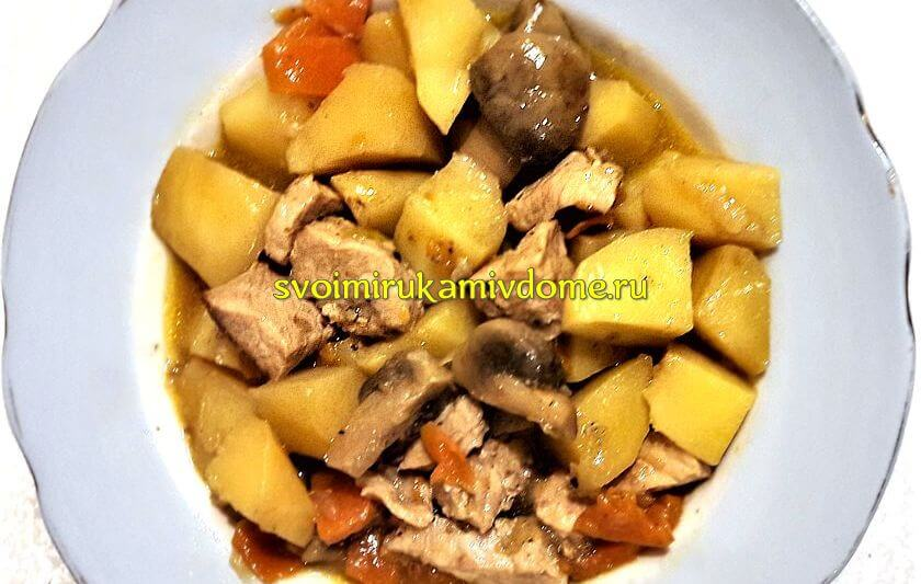 Как потушить картошку с мясом в кастрюле — пошаговый рецепт