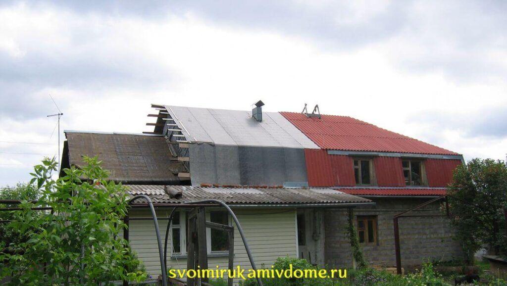 Недостроенная мансарда над крышей